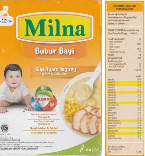 Milna Bubur Bayi Sup Ayam Jagung